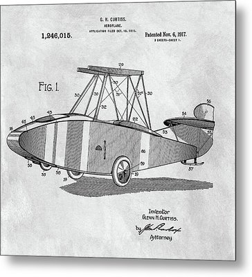Glenn Curtiss Airplane Patent Metal Print by Dan Sproul