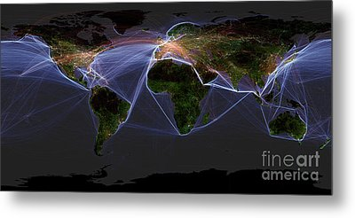 Global Transportation Map Metal Print by Felix PD and Globaia