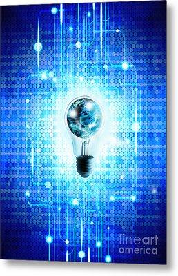 Globe And Light Bulb With Technology Background Metal Print by Setsiri Silapasuwanchai