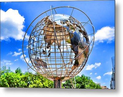 Globe At Columbus Circle Metal Print by Lanjee Chee
