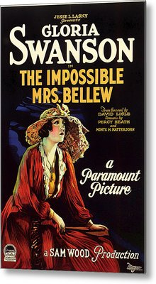 Gloria Swanson In The Impossible Mrs Bellew 1922 Metal Print by Mountain Dreams