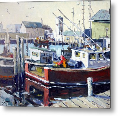 Gloucester Harbor And The Birdseye Tower Metal Print by Chris Coyne