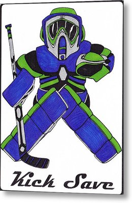 Goalie Blue Green Metal Print by Hockey Goalie