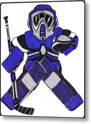 Goalie Blue Metal Print by Hockey Goalie