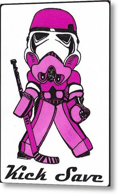 Goalie Pink Metal Print by Hockey Goalie