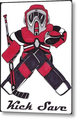 Goalie Red Metal Print by Hockey Goalie