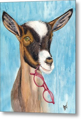 Gertie Gets Garnet Glasses Metal Print by Marie Stone Van Vuuren