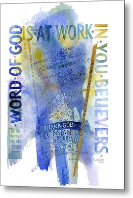 God At Work Metal Print by Judy Dodds