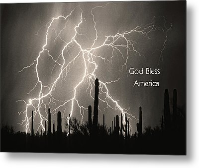 God Bless America Bw Lightning Storm In The Usa Desert Metal Print by James BO  Insogna