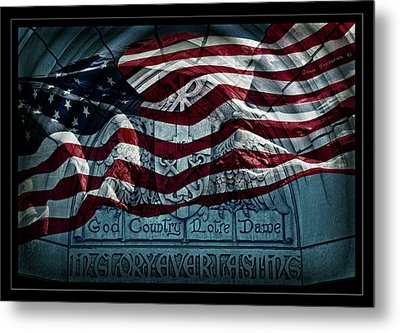 God Country Notre Dame American Flag Metal Print by John Stephens