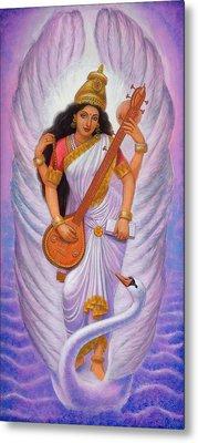 Goddess Saraswati Metal Print by Sue Halstenberg
