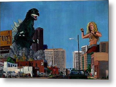 Godzilla Versus Shakira Metal Print by Thomas Weeks