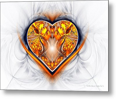 Gold And Sapphire Heart  Metal Print by Sandra Bauser Digital Art