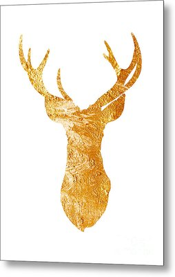 Gold Deer Silhouette Watercolor Art Print Metal Print by Joanna Szmerdt