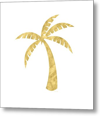 Gold Palm Tree- Art By Linda Woods Metal Print by Linda Woods