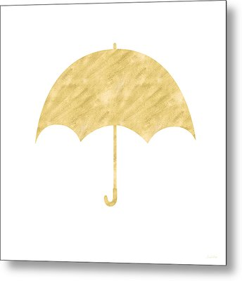 Gold Umbrella- Art By Linda Woods Metal Print by Linda Woods