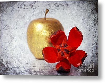 Golden Apple Metal Print by Angela Doelling AD DESIGN Photo and PhotoArt