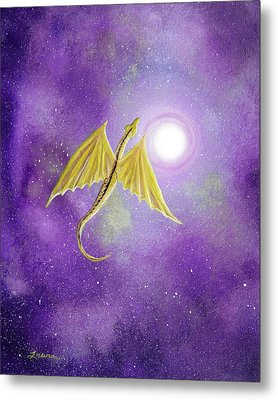 Golden Dragon Soaring In Purple Cosmos Metal Print by Laura Iverson