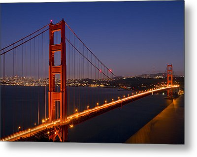 Golden Gate Bridge At Night Metal Print by Melanie Viola