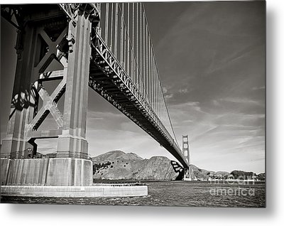 Golden Gate From The Water - Bw Metal Print by Darcy Michaelchuk