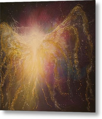 Golden Healing Angel Metal Print by Naomi Walker