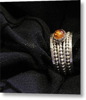 Golden Honey Baltic Amber And Stackable Sterling Silver Bold Rings Metal Print by Nadina Giurgiu