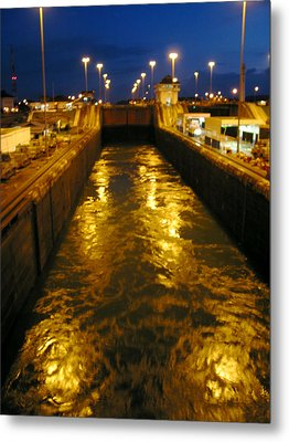 Golden Panama Canal Metal Print by Phyllis Kaltenbach