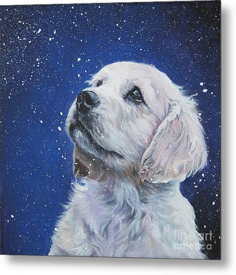 Golden Retriever Pup In Snow Metal Print by Lee Ann Shepard
