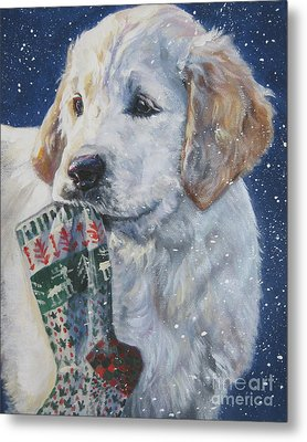 Golden Retriever With Xmas Stocking Metal Print by Lee Ann Shepard