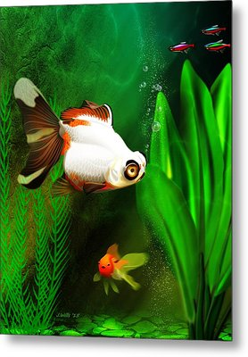 Goldfish Aquarium Metal Print by John Wills