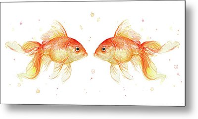 Goldfish Love Watercolor Metal Print by Olga Shvartsur