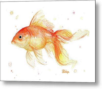 Goldfish Painting Watercolor Metal Print by Olga Shvartsur