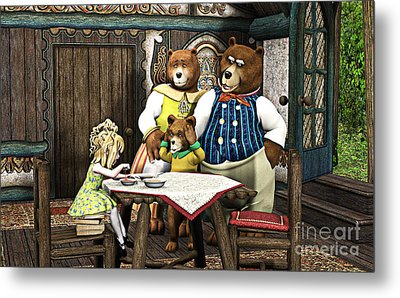 Goldilocks N The 3 Bears Metal Print by Methune Hively