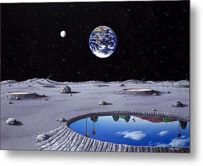 Golfing On The Moon Metal Print by Snake Jagger