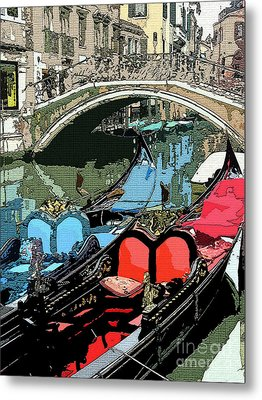 Gondolas Fresco  Metal Print by Mindy Newman