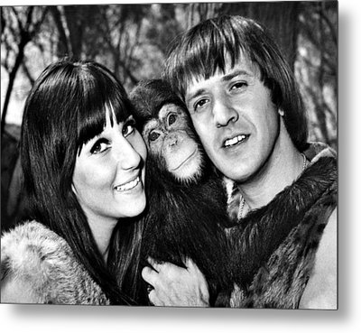Good Times, Cher, Sonny Bono, On Set Metal Print by Everett