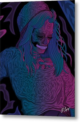 Metal Print featuring the drawing Good Vibes Skelegirl by Raphael Lopez
