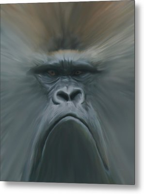 Gorilla Freehand Abstract Metal Print by Ernie Echols