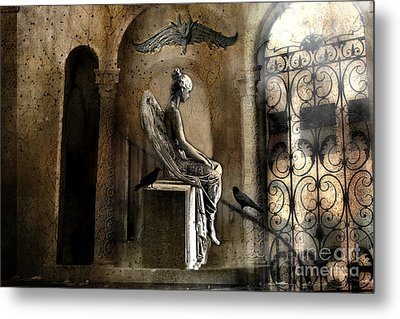 Gothic Surreal Angel With Gargoyles And Ravens  Metal Print by Kathy Fornal