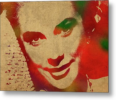 Grace Kelly Watercolor Portrait Metal Print by Design Turnpike