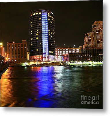 Grand Rapids Mi Under The Lights-6 Metal Print by Robert Pearson