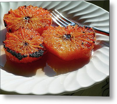 Grapefruit Brulee With Pomegranate Liqueur Metal Print by James Temple