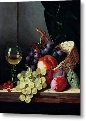 Grapes And Plums Metal Print by Edward Ladell