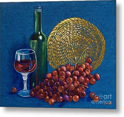 Grapes And Wine Metal Print by AnnaJo Vahle