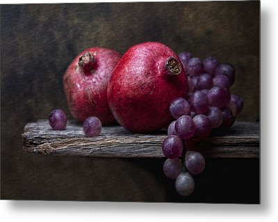 Grapes With Pomegranates Metal Print by Tom Mc Nemar