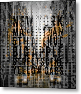 Graphic Art Nyc 5th Avenue Yellow Cabs - Typography And Splashes Metal Print by Melanie Viola