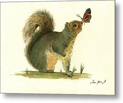 Gray Squirrel Butterfly Metal Print by Juan Bosco