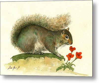 Gray Squirrel Flowers Metal Print by Juan Bosco