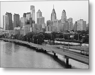 Grayscale Philly Skyline Metal Print by Frozen in Time Fine Art Photography