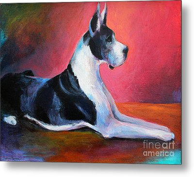 Great Dane Painting Svetlana Novikova Metal Print by Svetlana Novikova